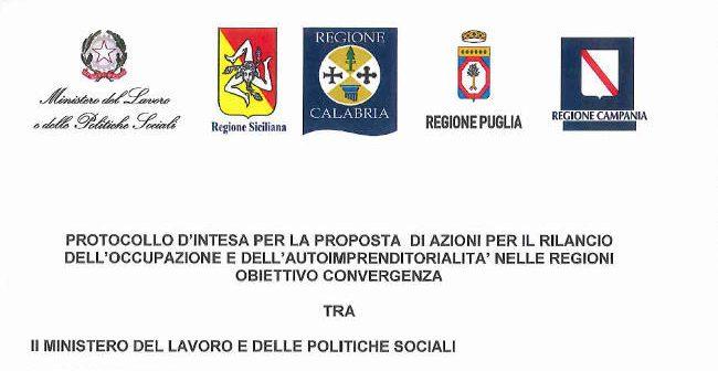 Protocollo per il rilancio dell'occupazione nel sud Italia