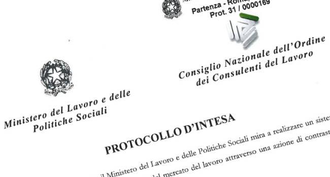 Protocollo Ministero Consulenti del Lavoro Asse.co