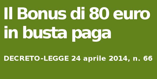 Decreto Irpef 2014 bonus 80 euro in busta paga
