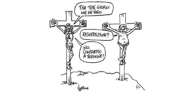 Precari, vignetta Vauro