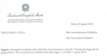 Permessi sindacali Pubblica Amministrazione. Circolare 5/2014