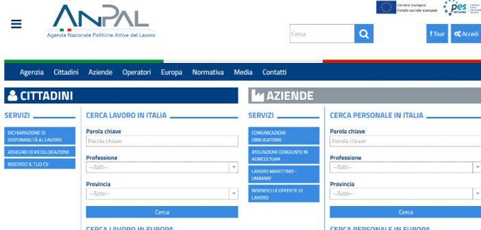 Sito ANPAL, Agenzia Nazionale per le Politiche Attive del Lavoro
