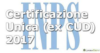 Certificazione Unica 2017 INPS (ex CUD)
