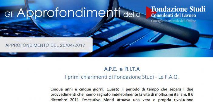APE e RITA, approfondimento Fondazione Studi