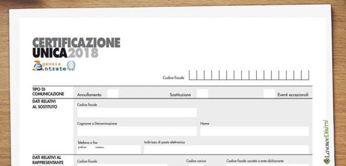 Certificazione Unica 2018 (ex CUD): modello, istruzioni e scadenze
