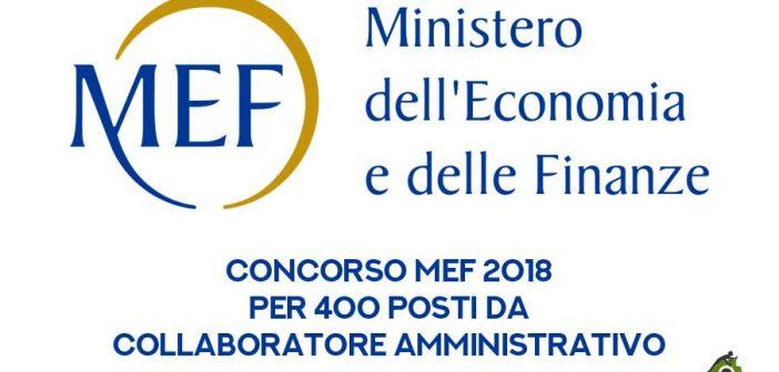 Concorso MEF 2018 per 400 posti: diario e sede delle prove preselettive
