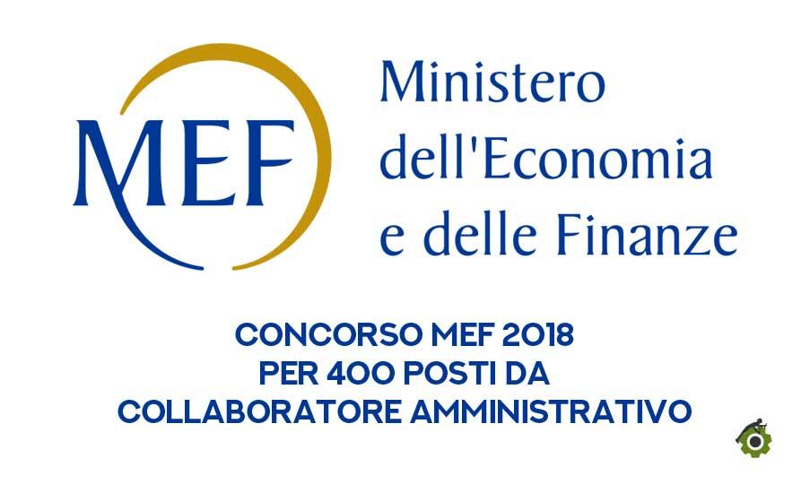 Concorso Mef 2018: bandi e requisiti per 400 posti a disposizione