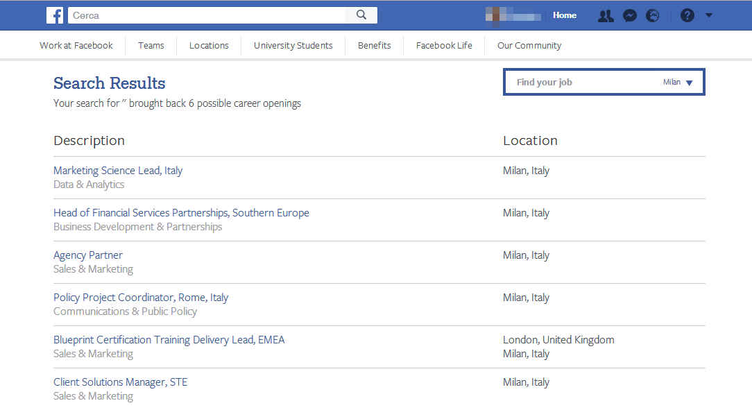 Facebook Jobs o Careers offerte di lavoro