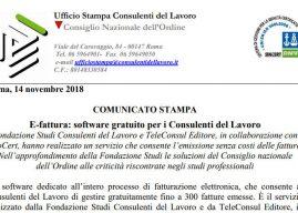 Fattura elettronica, programma gratuito per i consulenti del lavoro