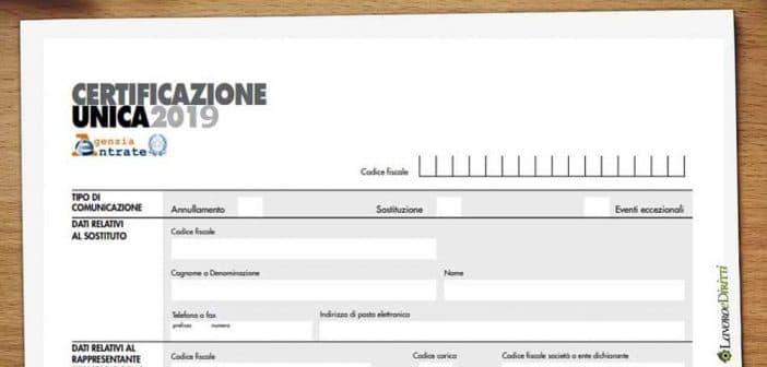 certificazione unica 2019 | CUD | CU
