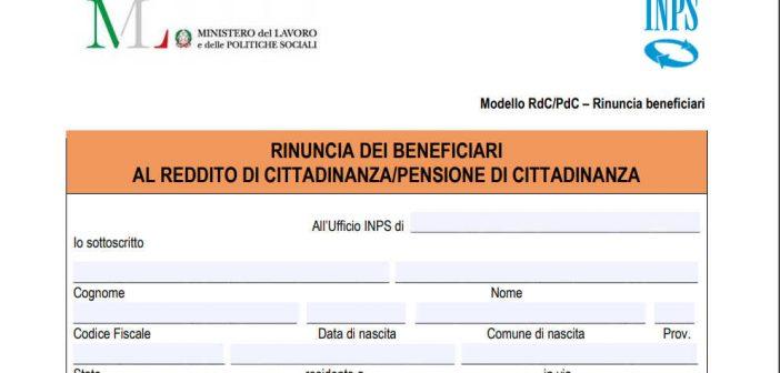 Modulo SR183 INPS Rinuncia Reddito di Cittadinanza
