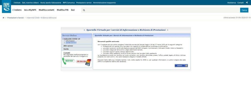 domanda bonus 600 euro