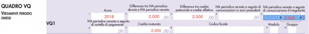 quadro VQ Dichiarazione Iva 2020