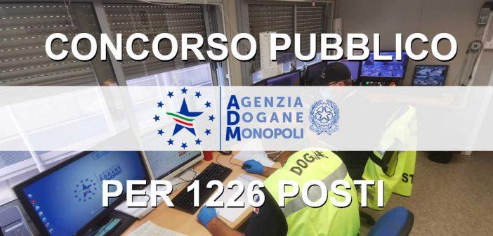Concorso Agenzie delle Dogane 1226 posti