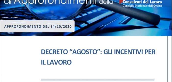 Incentivi lavoro Decreto Agosto