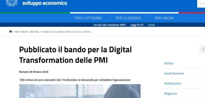 Bando MISE Digital Transformation PMI