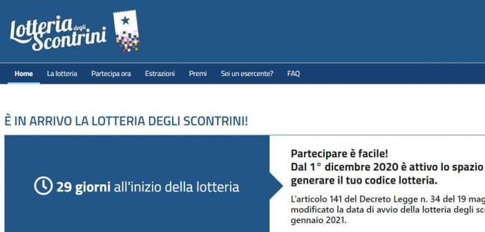 lotteria degli scontrini registrazione