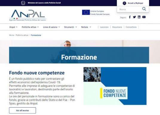 Fondo nuove competenze: domanda online con MyAnpal. Come fare