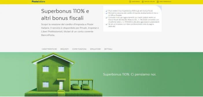 Superbonus 110, cessione del credito a Poste Italiane